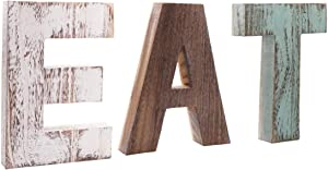 MINCORD Rustic Multicolor EAT Cutout Wooden Letters Wall Plaque, Wood Home Sign, Decorative Wooden Block Word Signs, Freestanding Wooden Letters