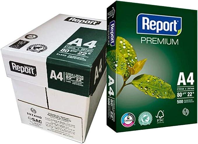 Papel SUZANO REPORT Premium 80 Gr. Din-A4, Caja x2500 Hojas: Amazon.es: Oficina y papelería