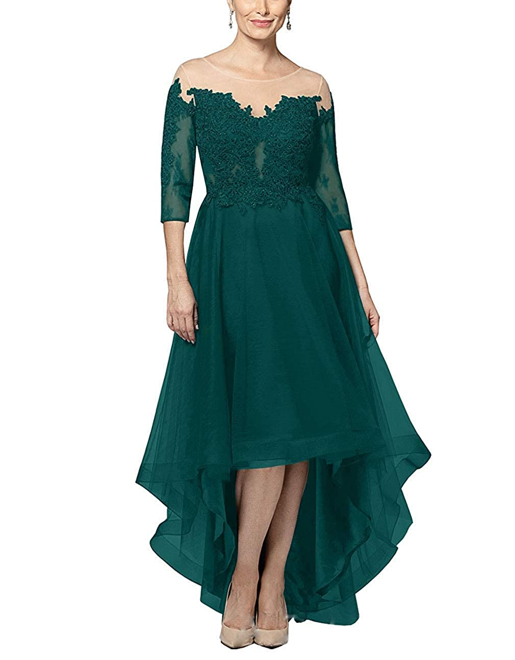 Dark Green XSWPL Mother of The Bride Dresses HiLow with Sleeves Lace Long Evening Formal Gowns