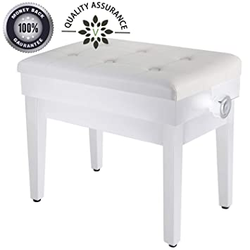 Pleasant Adjustable Piano Bench Wooden Piano Stool With Music Storage Height Adjustable Pu Leather And Solid Wood White Machost Co Dining Chair Design Ideas Machostcouk
