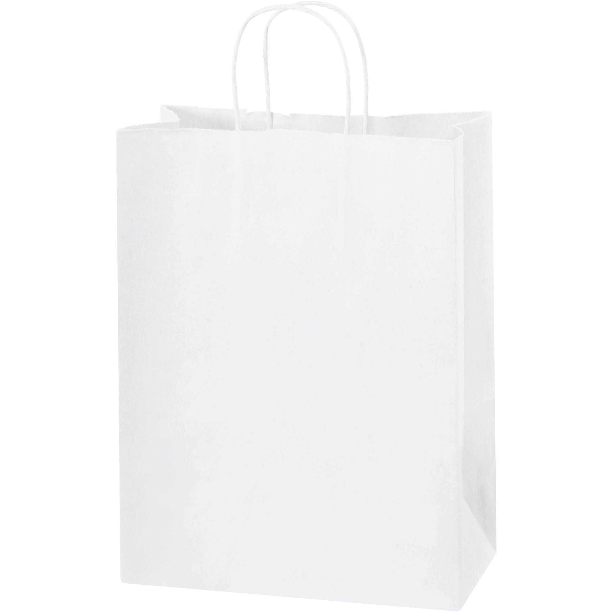 Paper Shopping Bags, 10'' x 5'' x 13'', White, 250/Case