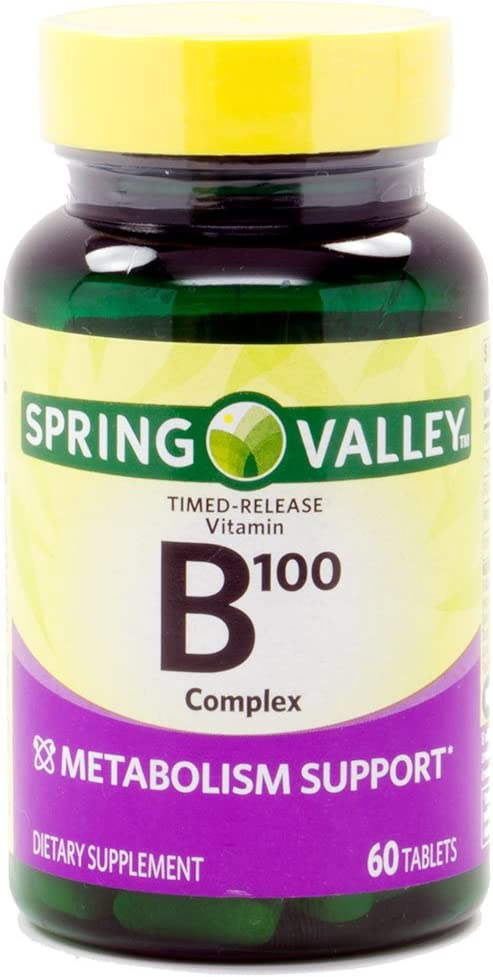 Spring Valley Natural Time Release B-Complex Metabolism Support B100, 60 Tablets