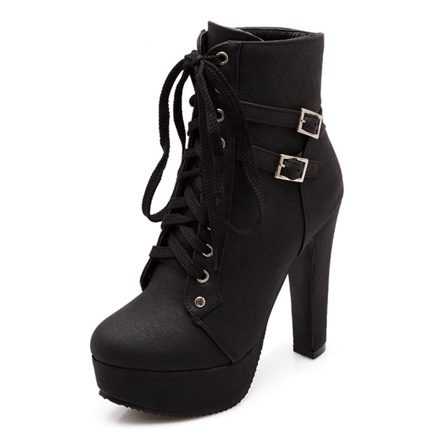 Women's Lace Up High Heel Platform Ankle Booties Sexy Platform Shoes Dress Stiletto Pumps Bootie Size6-10.5