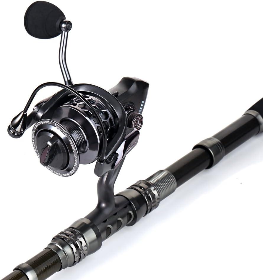 Sougayilang Pesca Rod Combos con telesc/ópico Ca/ña de Pescar Spinning Carretes Pesca Bolsa de Transporte para Viajes Agua Salada Agua Dulce Pesca