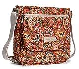 Malirona Canvas Messenger Bag Cross Body Purse Women Travel Purse Shoulder Satchel Floral Pattern (Red Flower)