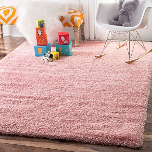 Soft & Plush Nursery Solid Baby Pink Kids Shag Area Rugs, 4 Feet by 6 Feet (4' x 6')