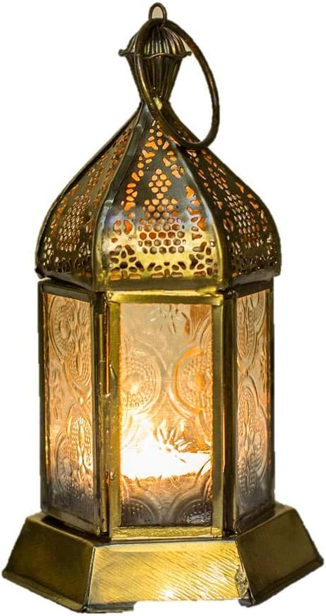 Klass Home Collection Moroccan French Style Aged Brass Patterned Glass Lantern Tealight Candle Holder Small 17x8cm