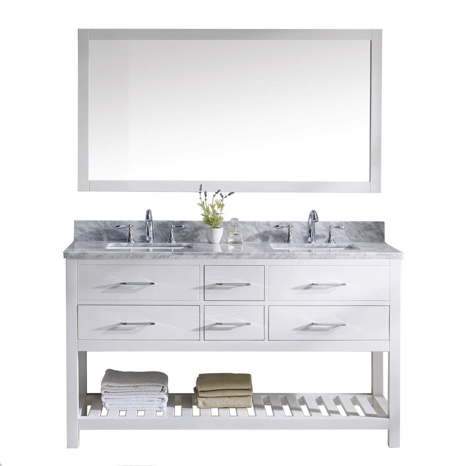 Virtu USA Caroline Estate 60 inch Double Sink Bathroom Vanity Set in White w Square Undermount Sink, Italian Carrara White Marble Countertop, No Faucet, 1 Mirror – MD-2260-WMSQ-WH-010