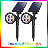 VZCOME Solar Colored Landscape Lights, 2 in 1 Wireless Adjustable Solar Garden Spotlights, IP65 Waterproof Outdoor Color Changing Solar Powered Wall Lights for Yard Driveway Porch Patio 2 Pack