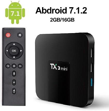 KOBWA TX3 Mini TV Box Android 7.1 Newest, Smart TV Box s905 W Quad-Core, 1GB RAM 8GB ROM/G WiFi/Full HD/4 K UHD h.265, WiFi Web TV Box 2 GB + 16 GB: