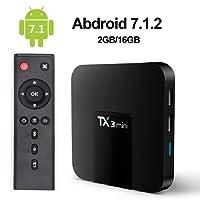 LayOPO TX3 Mini TV Box Android, Android 7.1 Smart TV Box TX3 Mini Quad Core Amlogic S905W de 2 Go / 16 Go 64 Smart TV WiFi Box 4K avec Télécommande