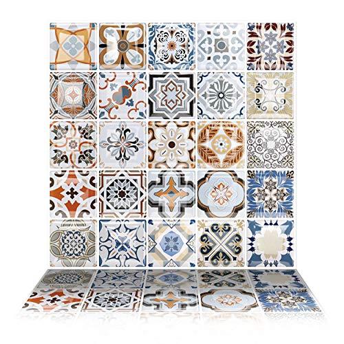 Tic Tac Tiles - Premium Anti Mold Peel and Stick Wall Tile Backsplash in Moroccan Design (Caro, 6) (Backsplash Pressed Tin)