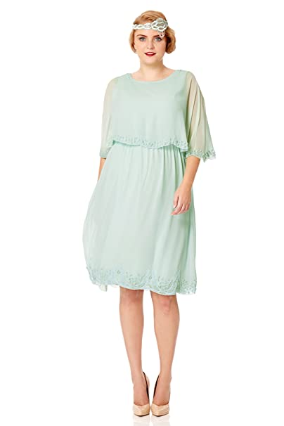 Gloria Vintage Inspired Cape Dress in Mint at Amazon Womens Clothing store: