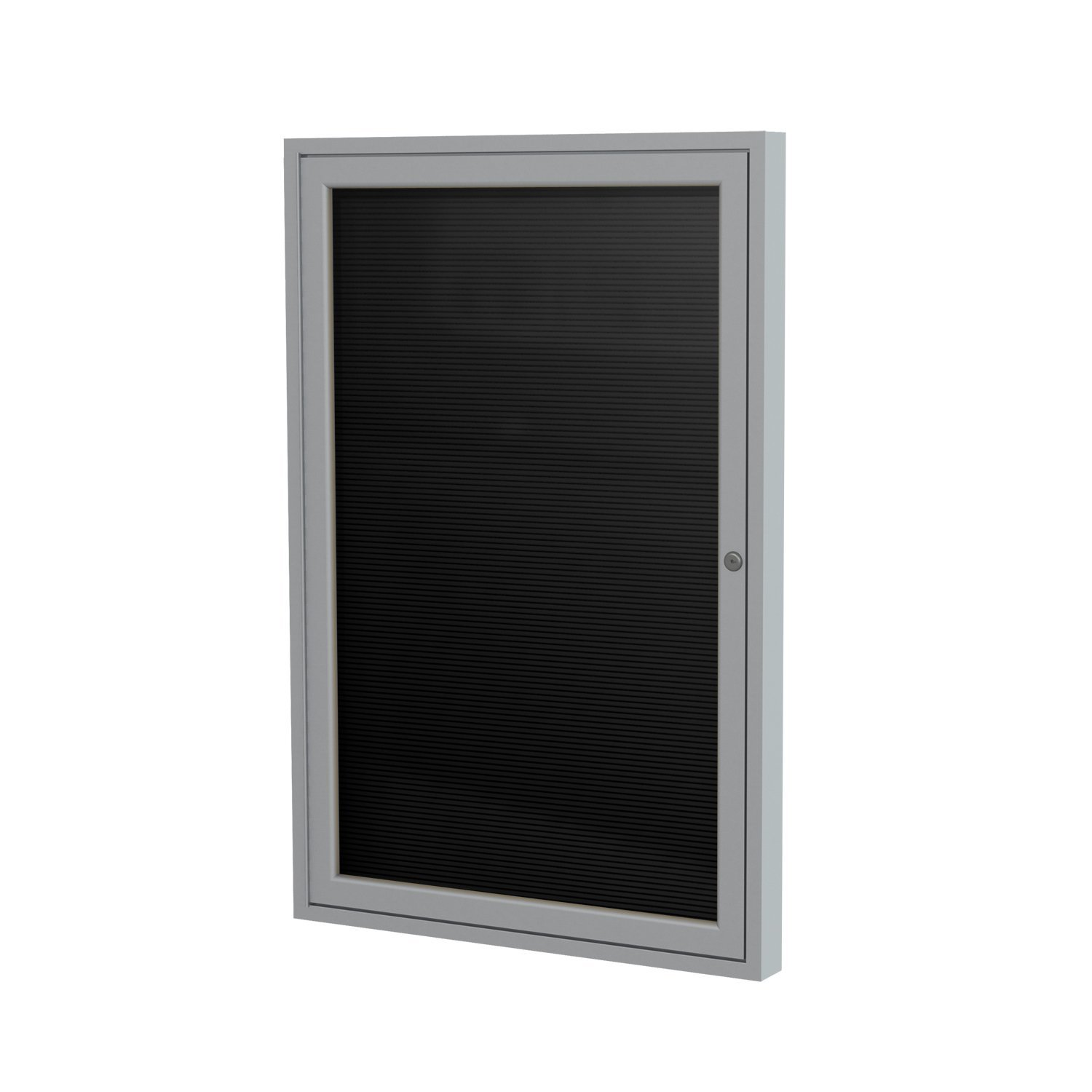 Ghent 36'' x 30'' 1 Door Outdoor Enclosed Vinyl Letter Board, Black Letter Panel, Satin Aluminum Frame (PA13630BX-BK)