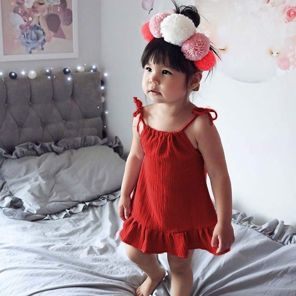 Harpily Toddler Baby Girl Sleeveless Sling Solid Party Princess Casual Leotards Dress Clothes