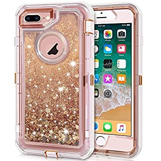 Anuck iPhone 8 Plus Case, iPhone 7 Plus Case, 3 in 1 Hybrid Heavy Duty Defender Case Sparkly Floating Liquid Glitter Protective Hard Shell Shockproof TPU Cover for iPhone 7 Plus /8 Plus - Rose Gold