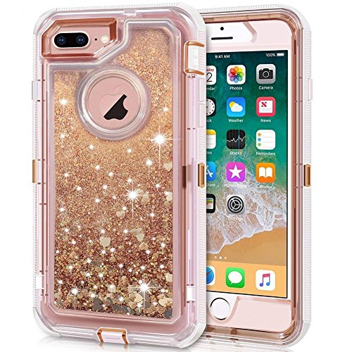 iPhone 8 Plus Case, iPhone 7 Plus Case, Anuck 3 in 1 Hybrid Heavy Duty Defender Case Sparkly Floating Liquid Glitter Protective Hard Shell Shockproof TPU Cover for iPhone 7 Plus/8 Plus - Rose Gold