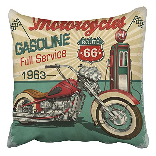 Route 66 Motorcycle (Emvency Throw Pillow Covers Vintage Gasoline Route 66 Poster Classic Motorcycles Decor Pillowcases Polyester 16 X 16 Inch Square Hidden Zipper Home Cushion Decorative Pillowcase)
