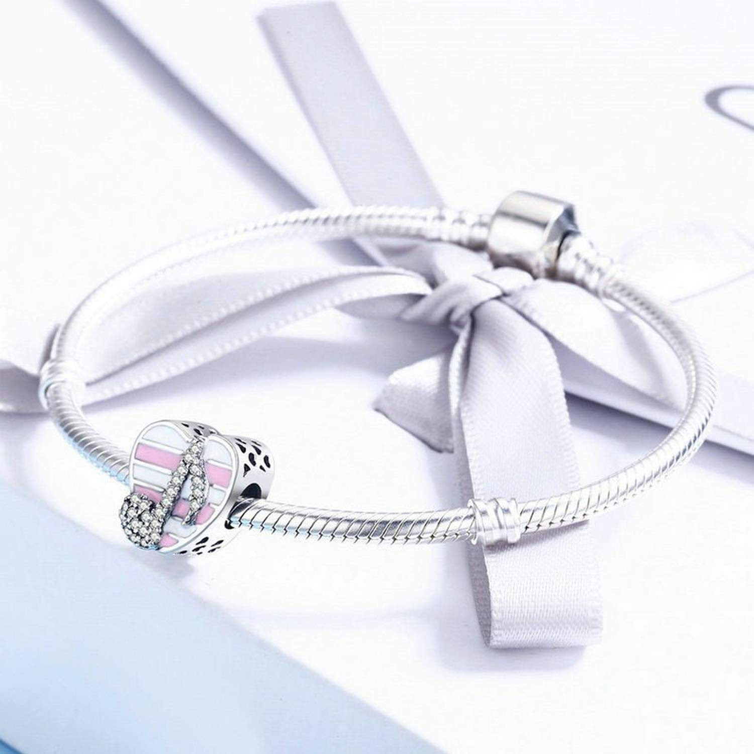 EverReena Heart Romantic Music Note Charm Silver Beads Bracelets