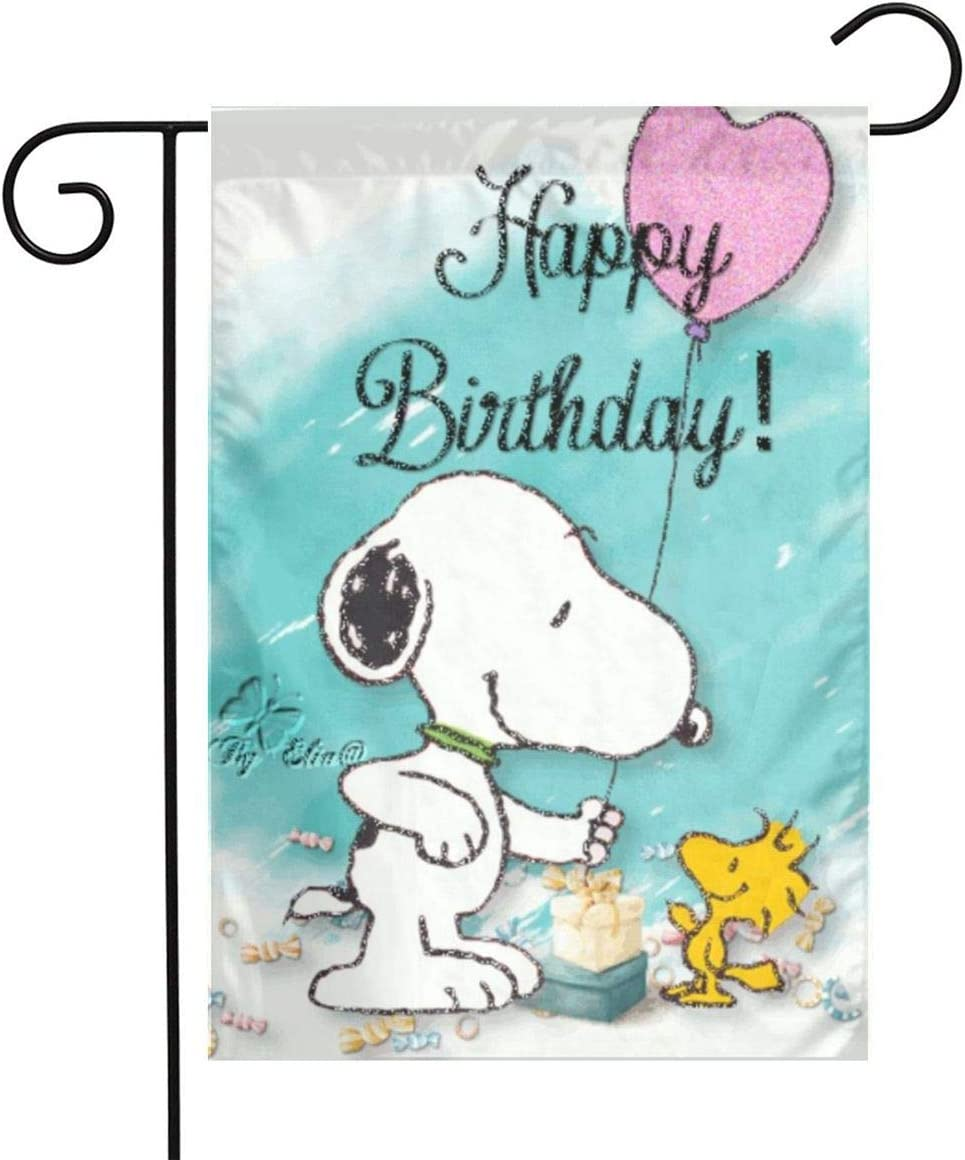 Criss Snoopy-Happy Birthday Garden Flag Perfect Decor for Outdoor Yard Porch Patio Farmhouse Lawn, 12 X 18 Inch