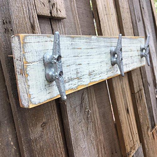 Nautical Distressed White over Gray Boat Cleat Coat Rack, Towel Rack, Hat Rack, Book Bag Rack, or Key Rack by Willis Wood Designs