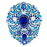 SEP 4.9IN Rhinestone Crystals Large Egg Shape Brooch Broach Pins Women Jewelry Accessories 4045 (Blue)