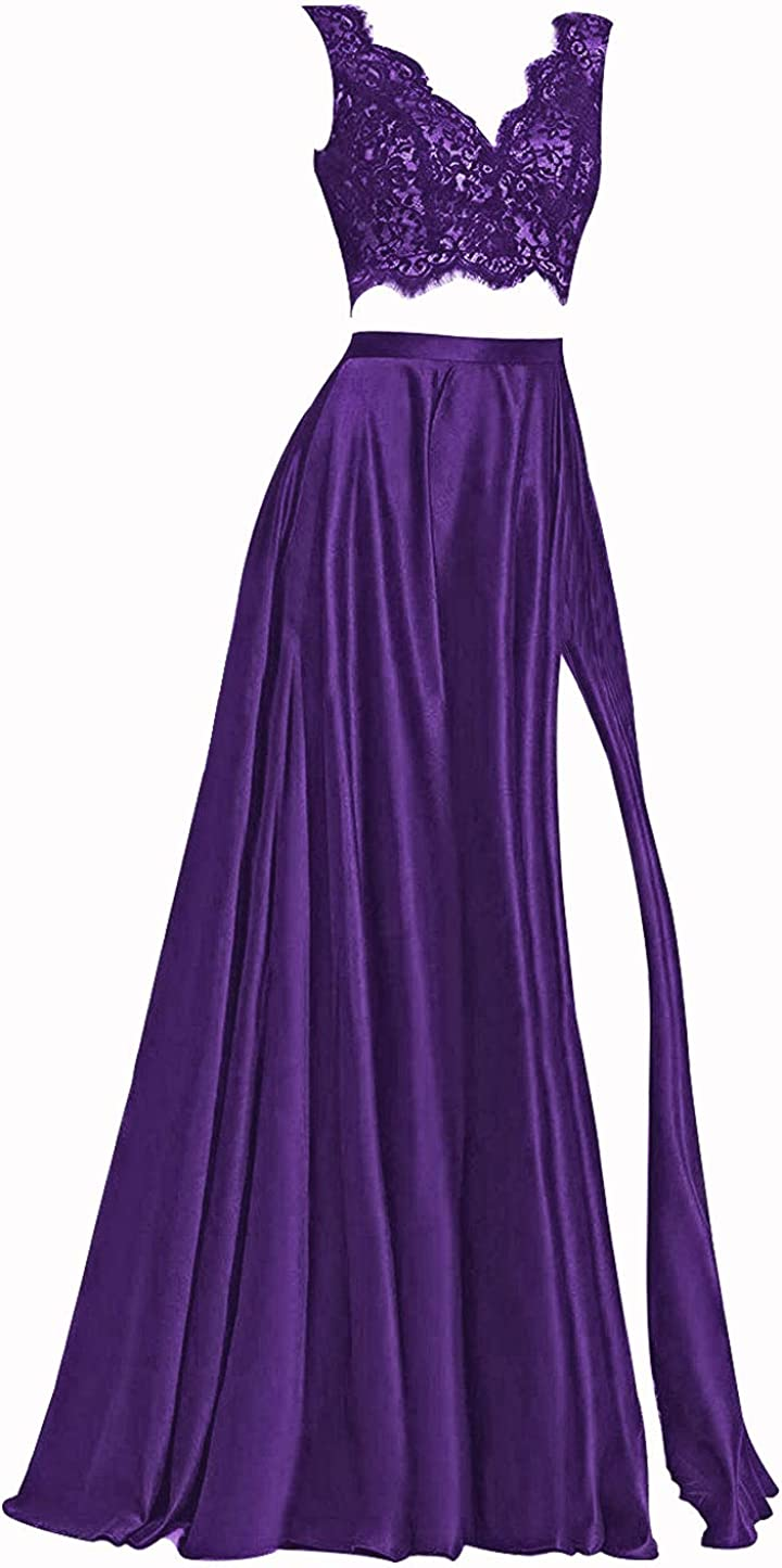 Prom Dresses Satin Evening Dress A Line Prom Dress with Slit Evening Gown V Neck
