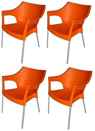 RESOL U0026quot;Poleu0026quot; Garten/Outdoor Designer Kunststoff U0026 Aluminium Stühle  U2013 Orange