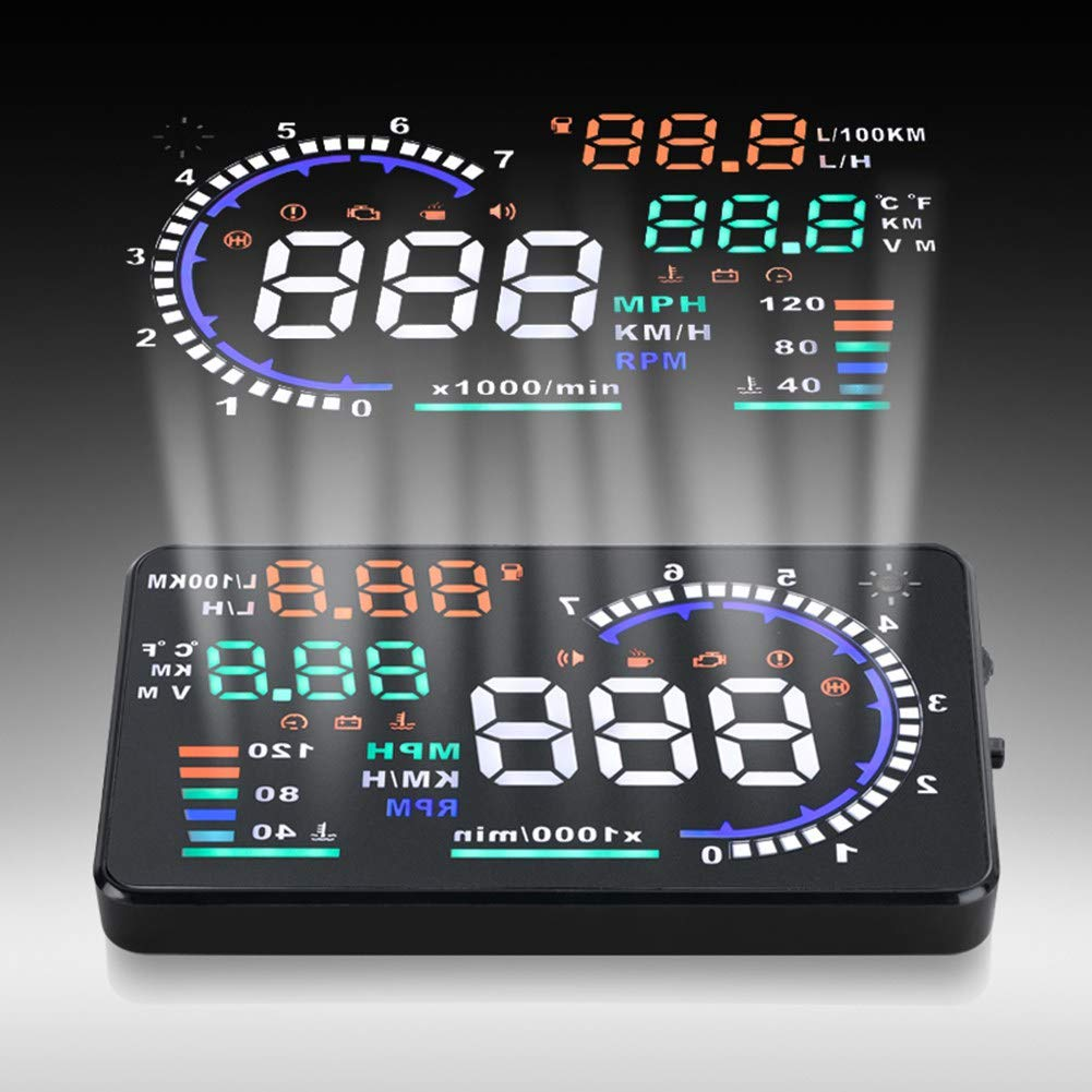 Cuque 5.5-Inch HUD Large Screen Head Up Display High Definition Windshield Overhead Reflective Screen with Speed Fuel Consumption Mileage Measurement Fatigue Driving Reminding Alarm for OBD II EUOBD