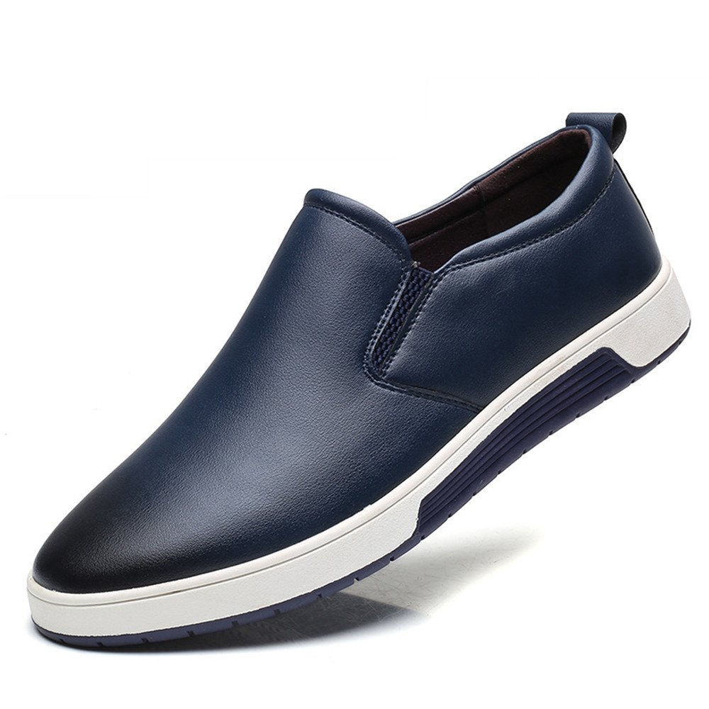 TYAW-Herren Runden Schuhe Flache Schuhe Leder Runden TYAW-Herren Kopf Farbe Flach Mund Dick Unten 5a6de7