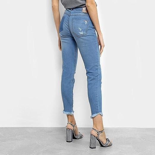 c7a1c2d5a Calça Jeans Skinny Colcci Cory Estonada Puídos Barra Desfiada Cintura Média  Feminina - Azul Claro - 44: Amazon.com.br: Amazon Moda