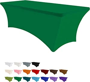 Eurmax 4Ft Rectangular Fitted Spandex Tablecloths Wedding Party Patio Table Covers Event Stretchable Tablecloth (Emerald Green)
