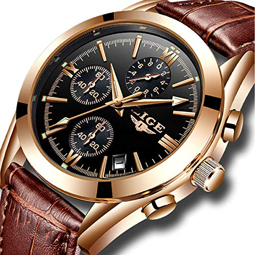 (Mens Watches Leather Analog Quartz Watch Men Date Business Dress Wristwatch Men's Waterproof Sport Clock Gold)