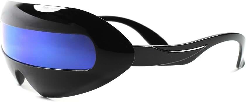Futuristic Space Robot Party Rave Costume Futuristic Red Shield Sun Glasses