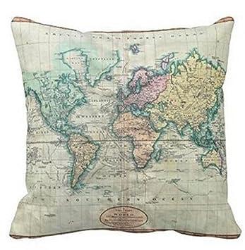 Amazon.com: Colorido mapa del mundo, funda de cojín de lino ...