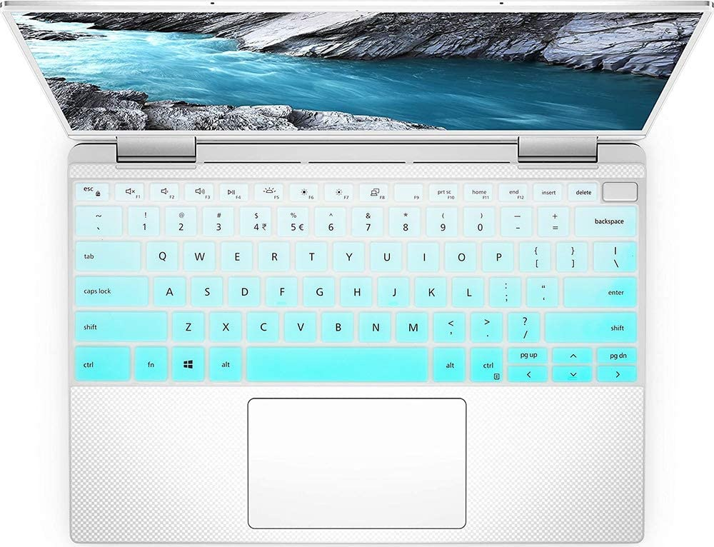 """Ultra Thin Keyboard Cover Skin for New 2019 Dell XPS 13 7390 2-in-1 13.3"""" Laptop Keyboard Protector Cover, Dell XPS 13 7390 2-in-1 Accessories (for 2-in-1 Version Only), Ombre Mint Green"""