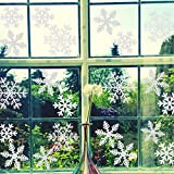 Best Sticker Decals For Holiday Christmas - 108Pcs White Snowflakes Window Clings Decals Christmas Window Review