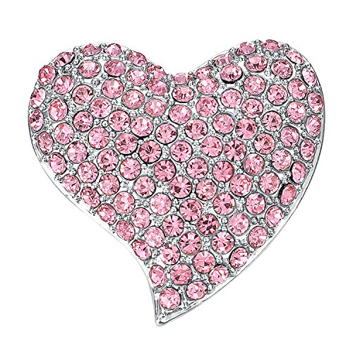 Yoursfs Crystal Pink Rhinestone Heart Brooch Sweet Pink Heart Shape Brooch Pins for Women Bridal Fashion Jewelry