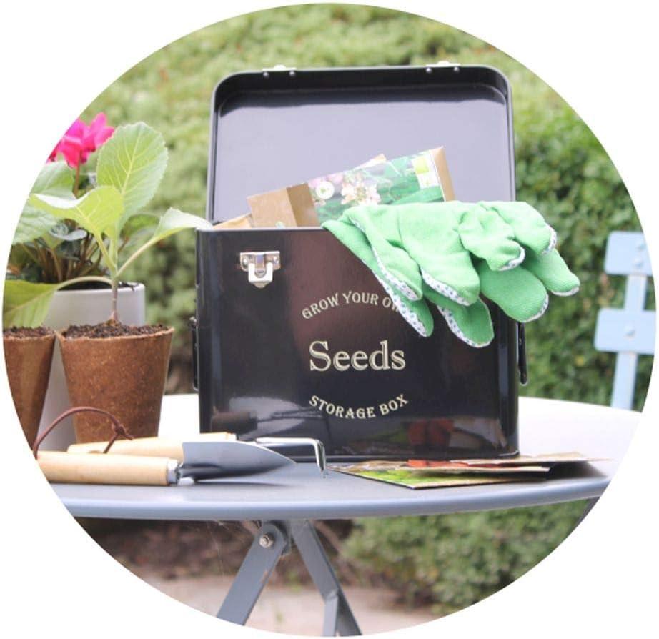 Gardening-Naturally Midnight Black Powder Coated Metal Seed Packet Storage Tin