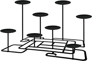 Qikadsen 8 Fireplace Candle Candelabra Candleholder Mantle Decor for Flameless or Wax Pillar Candles Stand with Black Iron Decoration on Desk or Floor, Support DIY