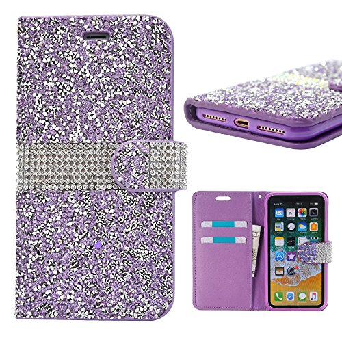 iPhone Xs Case, iPhone X Wallet Cover, Cute Bling Glitter Sparkly Rhinestone PU Leather Flip Protective Cell Phone Skin with Kickstand and Credit Card Function Fit for Apple iPhone X 5.8 inch (Purple)