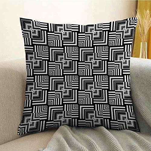 FreeKite Printed Custom Pillowcase Decorative Sofa Hug Pillowcase Geometric Op Art Pattern Unusual Checked Optical Illusion Effect Modern W16 x L16 Inch Black White