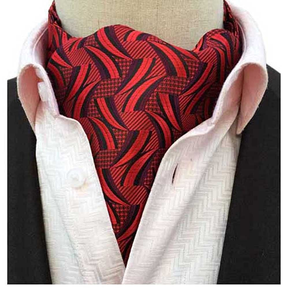L04BABY Mens Red Black Striped Flame Pattern Jacquard Woven Cravat Tie Ascot