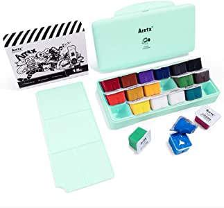 MIYA Gouache Paint Set, 18 Colors x 30ml Unique Jelly Cup Design, Portable Case with Palette for Artists, Students, Gouache Opaque Watercolor Painting (Mint Green)