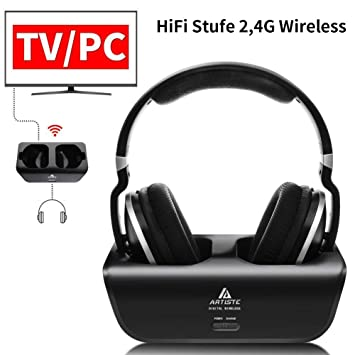 Artiste adh300 Wireless TV Auriculares, 2.4 GHz UHF/RF Over-Ear Auriculares estéreo Digital para TV, 100 ft Distancia emisor Recargables Carga: Amazon.es: ...