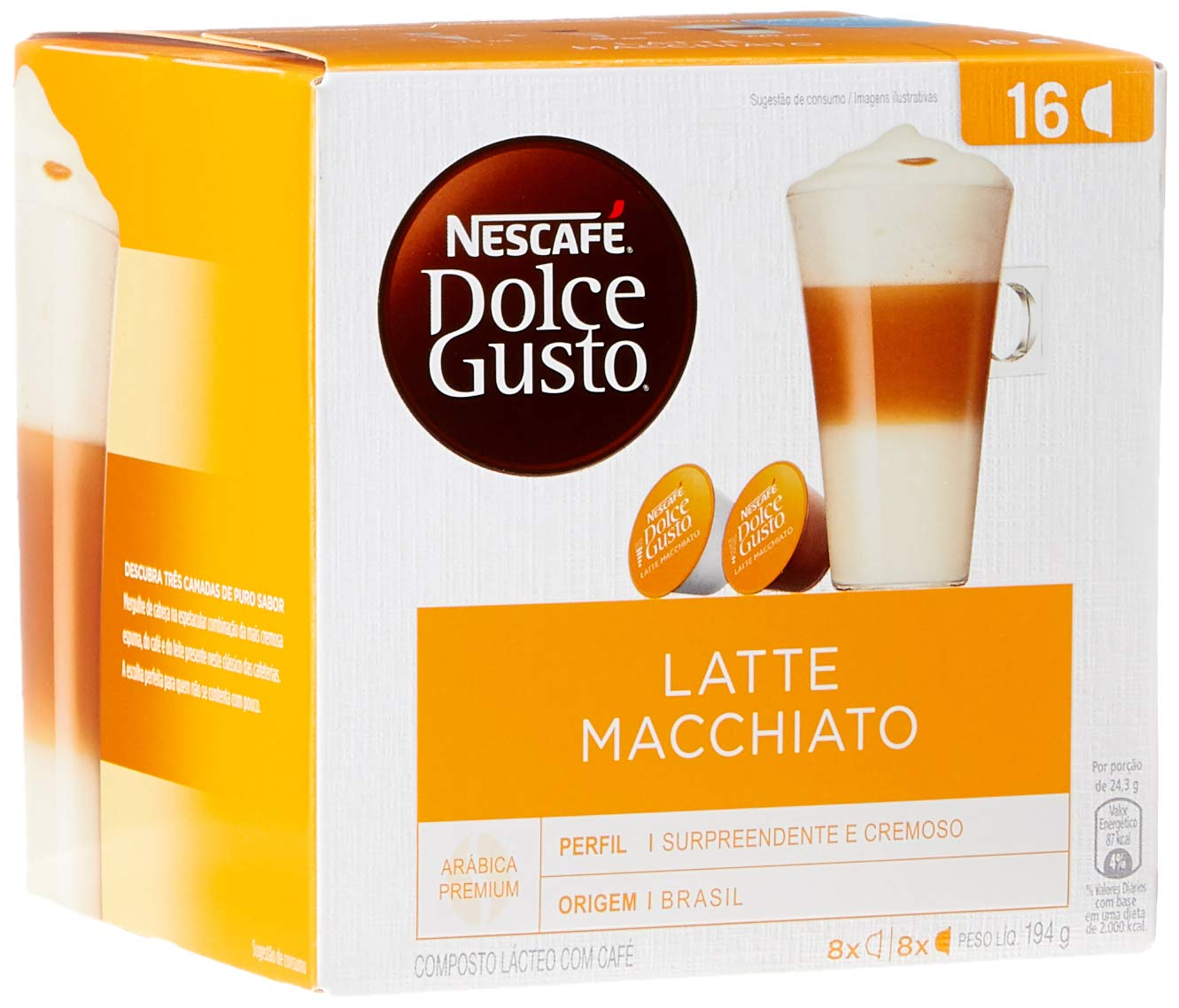 Nescafe Dolce Gusto Capsules, Latte Macchiato, 16 ct