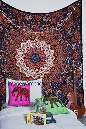 Americana Decor's Indian Mandala Hippie Tapestries Cotton Bedspread Wall Hanging Picnic Throw Bedcover Wall Art (orange)