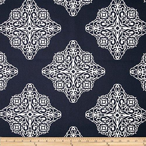 (Tempo Fabric 0379806 Terrasol Esperanza Medallion Navy/White Fabric by The Yard )