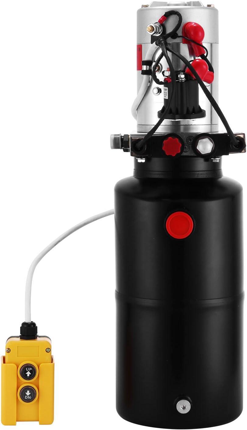 Mophorn 6L Bomba Hidráulica 3200PSI Unidad de Potencia Hidráulica 12V DC Bomba Hidráulica de Simple Efecto Control Remoto para Remolque Volquete (8L doble efecto con tanque de acero redondo)