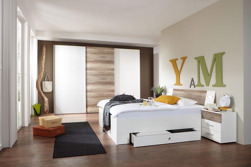 4-tlg-Schlafzimmer in Alpinweiß mit Abs. in Wildeiche-NB, Schwebetürenschrank B: 313 cm, Bett mit Schubkästen B: 180 cm, 2 Nachtschränke B 104 cm